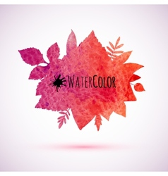 Red watercolor painted autumn leaves banner vector