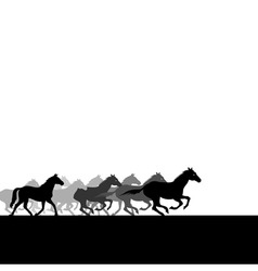 Run of herd of horses across the field a vector il vector