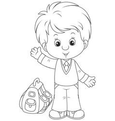 Schoolboy with his schoolbag vector