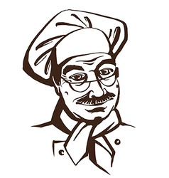 Senior chef wearing hat and uniform hand drawing vector