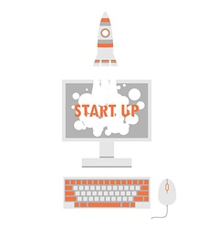 Start up rocket from screen vector