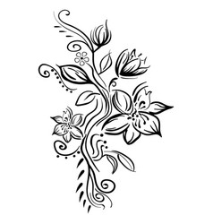 Stylized sketch flowers isolated vector