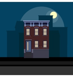 townhouse in flat polygonal style night cityscape vector image