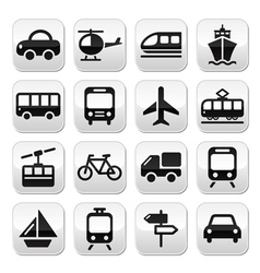 Transport travel buttons set isoalated on vector image