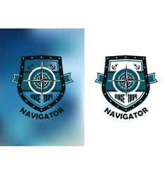Vintage marine navigator label or emblem vector