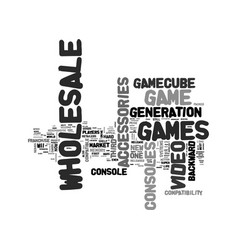 Wholesale video game market text word cloud vector