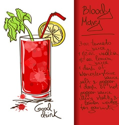 With bloody mary cocktail vector