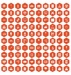 100 company icons hexagon orange vector