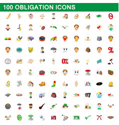 100 obligation icons set cartoon style vector