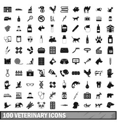 100 veterinary icons set simple style vector image vector image