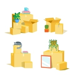 Cardboard boxes for moving set vector