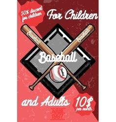 Color vintage baseball poster vector image