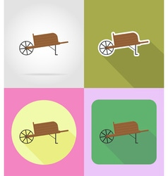 Garden tools flat icons 12 vector