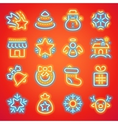 Christmas neon icons vector