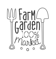 100 percent farm garden market black and white vector