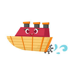 Little paddle retro steamer boat cute girly toy vector