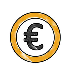 Coin money euro icon vector
