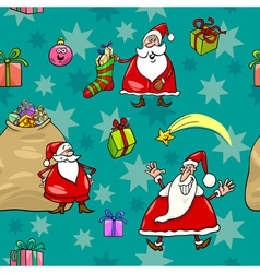 Christmas cartoon seamless pattern wrapper vector