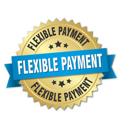 Flexible payment round isolated gold badge vector