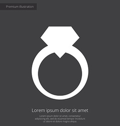 Jewelery ring premium icon white on dark backgroun vector