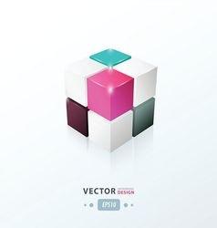 3d cube black pink purple blue color vector