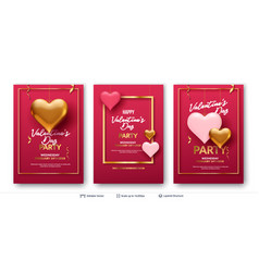 3d hearts and luxurious golden frame on pink vector