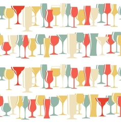 Alcoholic Glass Silhouette Seamless Pattern vector image