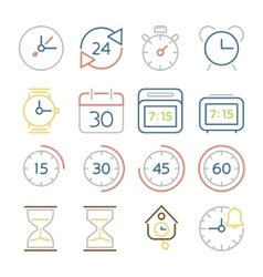 Time and clock icons flat design colorful thin vector