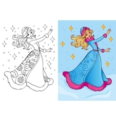 Coloring book of snow maiden vector