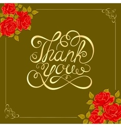 Background with roses thank you hand vector