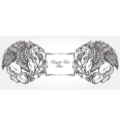 Griffin beast with text frame vector