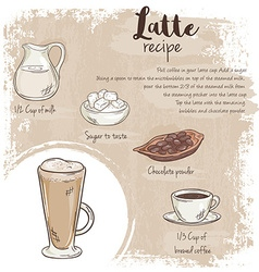 Hand drawn of latte recipe with list of vector