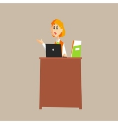 Receptionist desk in office vector