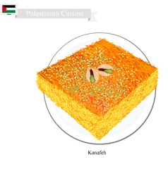 Kunafa or palestinian cheese pastry with syrup vector