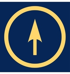 Arrow axis y flat yellow color rounded icon vector