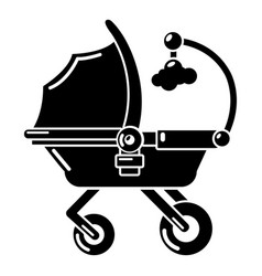 Baby carriage cute icon simple black style vector