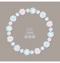 Beautiful floral frame background cute wreath vector