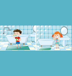 Boy and girl brushing teeth in bathroom vector