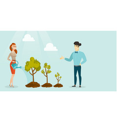 Business people watering trees of three sizes vector