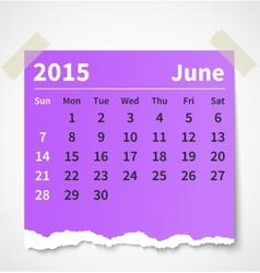 Calendar june 2015 colorful torn paper vector image vector image
