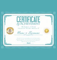 certificate or diploma retro design template 8 vector image