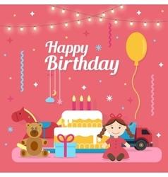 Children happy birthday icons set vector