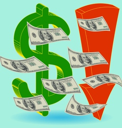 Crisis finance - the dollar symbol arrow downward vector