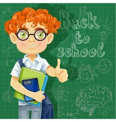 Cute boy in glasses near the blackboard vector image vector image