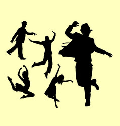 dancer male and female silhouette vector image