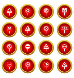 Different road signs icon red circle set vector