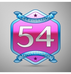 Fifty four years anniversary celebration silver vector