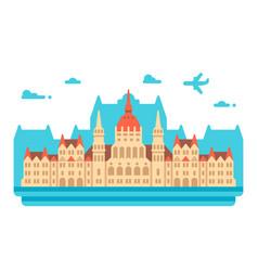 Flat design budapest parliament vector