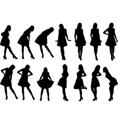 girls in various poses vector image vector image
