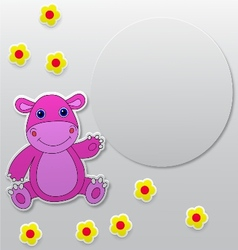 Greeting card with hippo cartoon vector image vector image